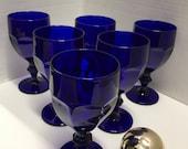 Set of 6 Vintage Cobalt Duratuff Pedestal Goblets