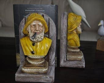 Vintage bookends - solid clay mold Fisherman bust.