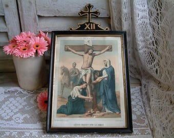 Antique french framed color lithograph of Stations of the Cross. Jesus dies on the cross. Napolean III. Christian home decor. French decor