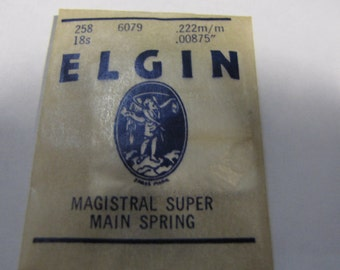Vintage Elgin Magistral Super Watch Main Spring 258 6079 .222m/m