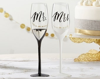 Tuxedo and Wedding Gown Mr. and Mrs. Toasting Champagne Flute Set - Wedding Champagne Flute - Wedding Toasting Glasses (27121)
