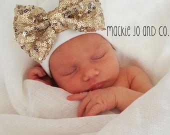 Gold Sequin Newborn BABY GIRL HAT baby girl newborn hat newborn beanie hospital cap newborn girl newborn hat girl baby newborn