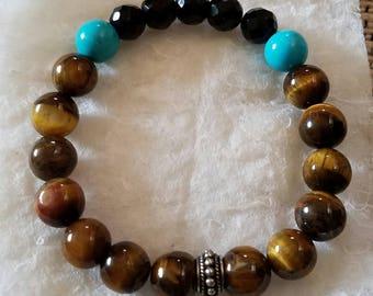 Semiprecious Stone Bracelet Tiger Eye Black Onyx Turquoise Sterling Silver Spacer Beads Stretch Bracelet Stack Bracelet Handmade Jewelry