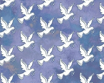 Windham - Faith by Whistler Studios Blue Doves 43027-4 - Quilt, Crafts, Religious, Christian, Jesus, Inspirational