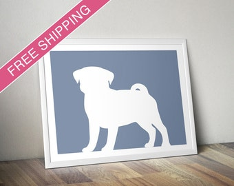 Pug Print - Pug Silhouette (Version 2) - Pug art, dog portrait, modern dog home decor
