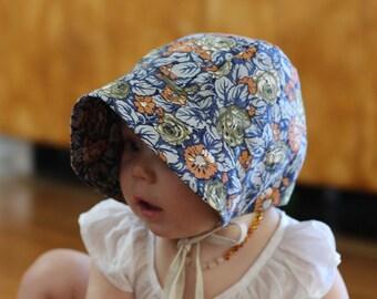 Baby Bonnet, vintage SEA GARDEN print, beach, sun hat