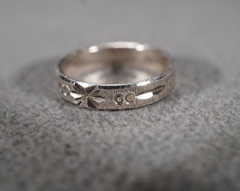 Vintage Sterling Silver Bold Etched Eternity Wedding Band Ring, Size 8   KW69