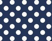 25% Off SALE End of Bolt Remnant/Navy Blue Medium Dot - 3/4 Yard - Riley Blake Polka Dots - Cotton Fabric By The Yard C360-21 NAVY