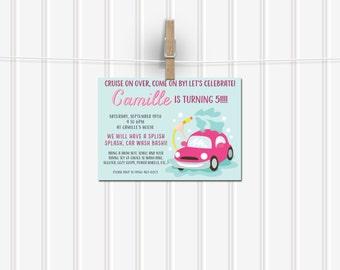 Printable Kid's Carwash Party Invitation