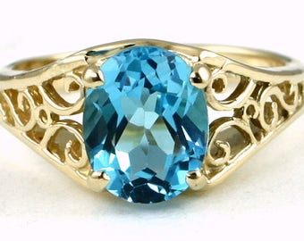 Swiss Blue Topaz, 14KY Gold Ring R005