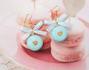 earrings macarons glitter heart polymer clay