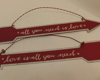 Valentines's Day Arrows Set of Two Red Tin Love is All You Need #880