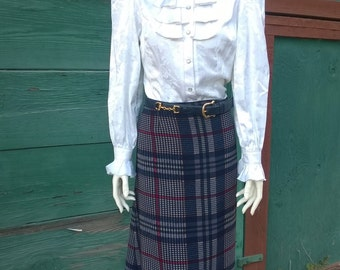 Vintage Navy Plaid Equestrian Skirt