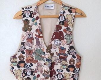 vintage teddy bear tapestry vest *