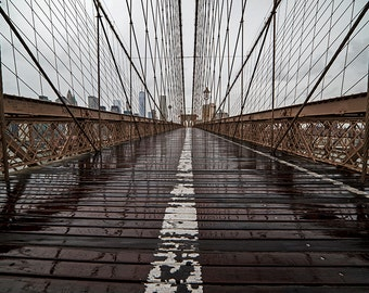 Rainy Day on the Brooklyn Bridge Rainy Day, Brooklyn Bridge Photography, Brooklyn Bridge Print, New York Photography, New York Print