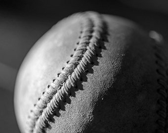 Baseball Still Life, Baseball Print, Baseball Photography, Baseball Art, Baseball Decor, Black and White, Spring, Summer