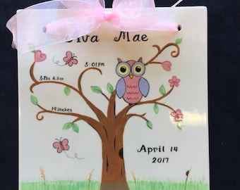 Cute owl Hand Painted Birth Announcement or Special Occasion Tile