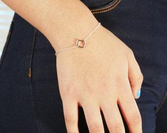 Silver bracelet, silver square bracelet, tiny bracelet, delicate bracelet, minimalist bracelet, charm bracelet -A608