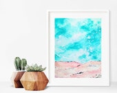 SALE: blush pink painting- abstract landscape- modern art
