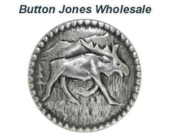 50 pcs. Moosey 5/8 inch ( 15 mm ) Metal Buttons Antique Silver Color