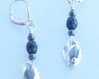 Silver, Labradorite, Hematite, Carved Pearl Earrings