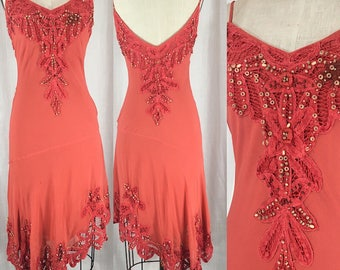 Vintage Inspired 1920's Orange Beaded Lace Dress