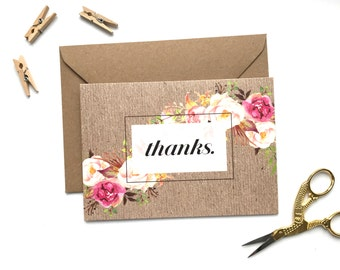 Kraft Thank You card. Rustic. Floral. Thanks. Greetings Card.