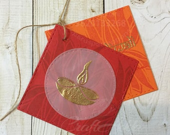 12 Indian gold embossed gift tags, Indian motifs, Indian design, Ganesh, lamps, lotus, Indian colours