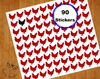 Chicken Stickers, Chicken Planner Stickers, 90 Chicken Stickers, Chicken Sticker Set, Chicken Envelope Seals, Chicken Scrapbook Stickers