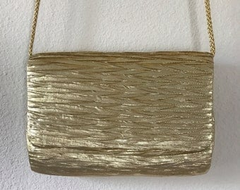 Metallic Gold La Regale Shoulder Bag/Clutch with Gold Satin Formal Party Purse