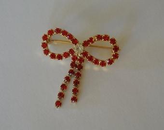 Red Rhinestone Brooch  Bow Ribbon Hat Pin Scarf Pin