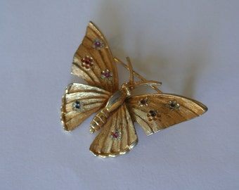 Butterfly Brooch by BSK Gold Tone with Rhinestones Wings Signed