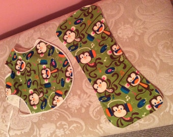 Monkey bib and burp cloth