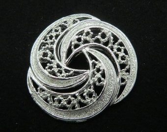 Gerry's Circle Brooch, Vintage Silvertone Circle Pin, Signed Gerry's Pin, Openwork Brooch