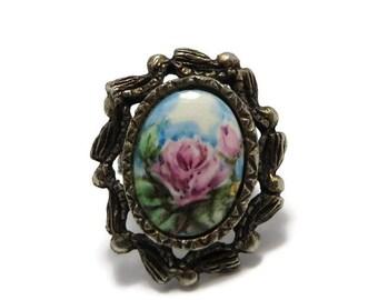 Vintage Flower Scene Antique Style Ring, Pink Rose Adjustable Cocktail Ring Size 5