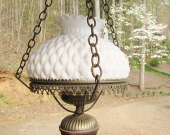 Vintage Hanging Lamp with Quilted Diamond Milk Glass Shade - Purchase Shade Only or Full Hanging Lamp