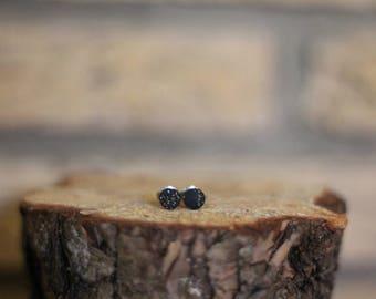 Simple Minimalist Black Space Galaxy Clay Earrings round stud post earrings