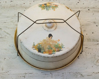 Tin Cake Carrier Vintage Cake Tin with Handle Garden Girl, Nesco Milwaukee