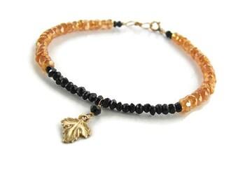 Girlfriend bracelet gift Delicate layering bracelet Gold leaf charm bracelet Thin Gemstone bracelet Black orange Sister jewelry bracelet
