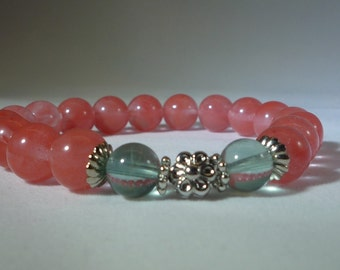 Cherry and Clear Quartz Beaded Bracelet with Silver Flower accents