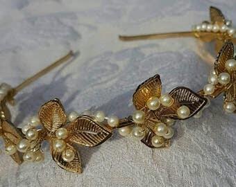 Leaf headband leaf hairband leaf tiara gold leaves and pearl headband grecian headpiece grecian headband gold and pearl headpiece leaf halo