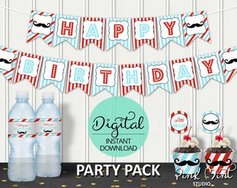 Little Man Birthday Party Package, Mustache Bash, Little Man Party, 1st birthday, Barber, Printable pack, INSTANT DOWNLOAD #7211