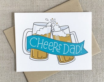 Cheers Dad Happy Father's Day Card / Illustrated Mugs of Beer / Funny Card for Dad / Hand Lettered Beer Card for Dad / Beer Card for Father