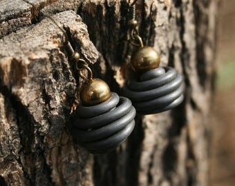 Upcycled jewelry. Black earrings made of recycled electric cables HONGKONG
