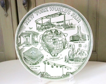Vintage New York Worlds Fair Souvenir Plate 1961 By United States Steel Heliport Monorail Unisphere Industrial Decorative Dish Wall Decor