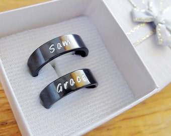 Black Personalized ring, Anniversary gift, friendship ring, Stamped ring,Couple ring, stainless steel ring, Customized yours, Black ring