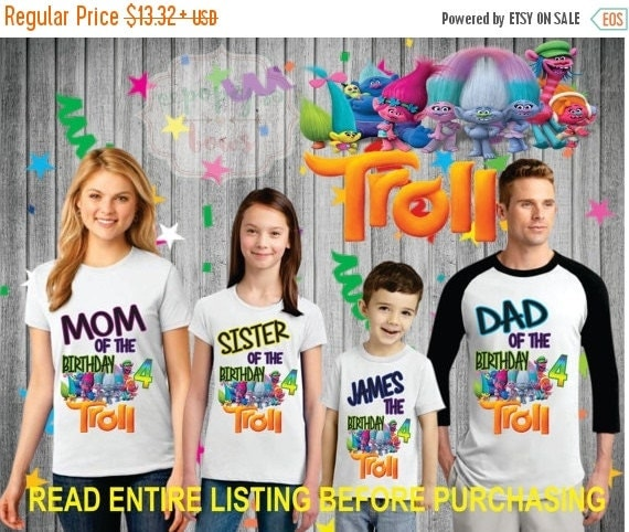 Personalized Trolls Family Birthday Shirt Set