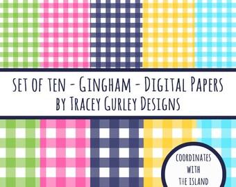 Gingham digital paper, preppy prints, tropical digital paper, digital scrapbook paper, scrapbooking supplies, digital download, digital art