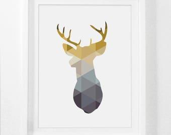 Deer Print, Deer Head, Nursery Prints, Yellow, Mustard, Deer Head Print, Yellow Art, Deer Prints, Yellow Print, Deer Poster, Mustard Yellow