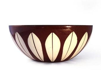 Vintage Cathrineholm Lotus Brown 5.5 Inch Enamel Bowl Mid Century Modern Norway